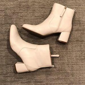 DKNY bone colored block heel bootie